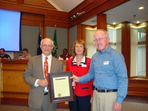 Hilton Head Mayor, Drew Laughlin signed the proclamation on March 5th, 2013. Pictured from L-R: Mayor Drew Laughlin, Jeanne Carmichael, Service to the Armed Forces Regional Manager and Bill Nicol Volunteer Disaster Chair